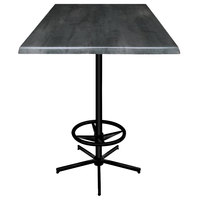 Holland Bar Stool OD21642BWOD30SQBlkStl 30 inch Square Black Steel Laminate Outdoor / Indoor Bar Height Table with Foot Rest Base
