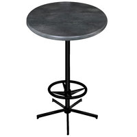 Holland Bar Stool OD21642BWOD36RBlkStl 36 inch Round Black Steel Laminate Outdoor / Indoor Bar Height Table with Foot Rest Base