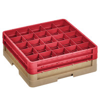 Vollrath CR10FF-32802 Traex® 9 Compartment Beige Full-Size Closed Wall 6 3/8 inch Glass Rack with 2 Red Extenders