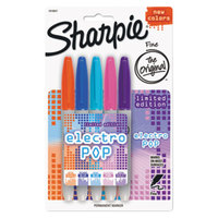 Sharpie 1919847 Electro Pop Assorted Colors Fine Point Permanent Marker - 5/Pack