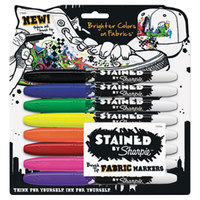 Sharpie 1779005 Stained Assorted Colors Brush Tip Permanent Fabric Marker - 8/Pack