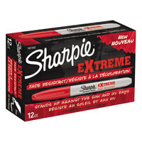 Sharpie 1927433 Extreme Red Fine Point Permanent Marker - 12/Pack