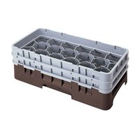 Cambro 17HS1114167 Camrack 11 3/4 inch High Customizable Brown 17 Compartment Half Size Glass Rack