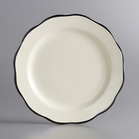 Choice 7 3/8 inch Ivory (American White) Scalloped Edge Stoneware Plate with Black Band - 36/Case