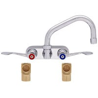 Fisher 19658 Backsplash Mounted Faucet with 4 inch Centers, 10 inch Swing Nozzle, 2.2 GPM Aerator, Wrist Handles, and Elbows