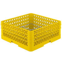 Vollrath PM1211-3-08 Traex® Plate Crate Yellow 12 Compartment Plate Rack - Holds 5 inch to 7 5/8 inch Plates
