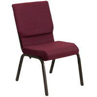 Flash Furniture XU-CH-60096-BYXY56-GG Burgundy Patterned 18 1/2 inch Wide Church Chair with Gold Vein Frame