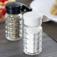 Tablecraft 1.5 oz. Glass Shakers with Black / White Moisture Proof ABS Tops - 48/Case