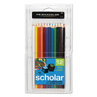 Prismacolor 92804 Scholar 12-Color Assorted Woodcase Barrel 3mm 2B Lead #2 Colored Pencil Set - 12/Set