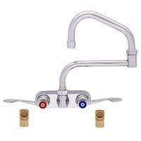 Fisher 19704 Backsplash Mounted Faucet with 4 inch Centers, 15 inch Double-Jointed Swing Nozzle, 2.2 GPM Aerator, Wrist Handles, and Elbows