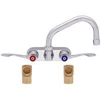 Fisher 19666 Backsplash Mounted Faucet with 4 inch Centers, 12 inch Swing Nozzle, 2.2 GPM Aerator, Wrist Handles, and Elbows