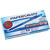Paper Mate 8808087 Write Bros Blue Ink with Translucent Barrel 1mm Ballpoint Stick Pen - 12/Pack