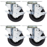 Beverage Air 61C01-018D-01 3 inch Replacement Plate Casters for Beverage Air LV15 - LV72 Lumavue and MM Series Glass Door Merchandisers - 4/Set