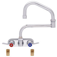 Fisher 19569 Backsplash Mounted Faucet with 4 inch Centers, 17 inch Double-Jointed Swing Nozzle, 2.2 GPM Aerator, Lever Handles, and Elbows