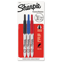 Sharpie 1735794 Assorted Colors Ultra-Fine Point Retractable Permanent Marker - 3/Set