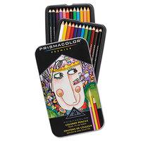 Prismacolor 3597THT Premier 24-Color Assorted Woodcase Barrel 3mm Soft Lead Colored Pencil Set - 24/Set