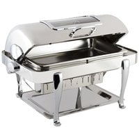Bon Chef 19041CH Elite Rectangle 8 Qt. Dripless Stainless Steel with Chrome Accents Roll Top Chafer with Glass Window
