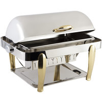 Bon Chef 10040 Manhattan 8 Qt. Stainless Steel with Brass Accents Roll Top Chafer with Vented Lid