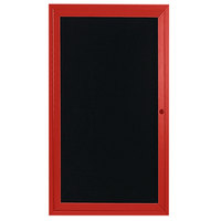 Aarco ADC3612R 36 inch x 12 inch Enclosed Hinged Locking 1 Door Powder Coated Red Aluminum Indoor Message Center with Black Letter Board