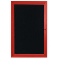 Aarco ADC2412R 24 inch x 12 inch Enclosed Hinged Locking 1 Door Powder Coated Red Aluminum Indoor Message Center with Black Letter Board