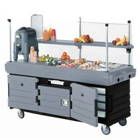 Cambro CamKiosk KVC856426 Black Base with Granite Gray Door Customizable Vending Cart with 6 Pan Wells