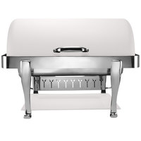 Bon Chef 19040CH-BIANCO Elite Rectangle 8 Qt. Dripless Bianco Finish with Chrome Accents Roll Top Chafer with Roman Legs