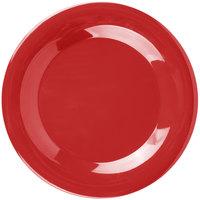 "Carlisle 3301205 Sierrus 9"" Red Wide Rim Melamine Plate - 24/Case"