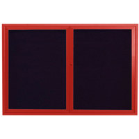 Aarco ADC3648R 36 inch x 48 inch Enclosed Hinged Locking 2 Door Powder Coated Red Aluminum Indoor Message Center with Black Letter Board