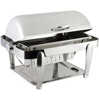 Bon Chef 10040CH Manhattan 8 Qt. Stainless Steel with Chrome Accents Roll Top Chafer with Vented Lid