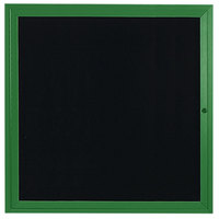 Aarco ADC3636G 36 inch x 36 inch Enclosed Hinged Locking 1 Door Powder Coated Green Aluminum Indoor Message Center with Black Letter Board
