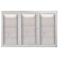 Aarco ODCC4872-3RI 48 inch x 72 inch Enclosed Hinged Locking 3 Door Satin Anodized Aluminum Finish Outdoor Lighted Bulletin Board Cabinet