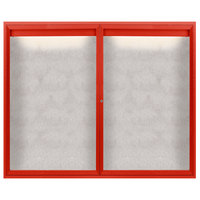 Aarco ODCC4860RIR 48 inch x 60 inch Enclosed Hinged Locking 2 Door Powder Coated Red Outdoor Lighted Bulletin Board Cabinet