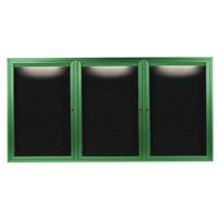 Aarco ADC3672-3IG 36 inch x 72 inch Enclosed Hinged Locking 3 Door Powder Coated Green Aluminum Indoor Lighted Message Center with Black Letter Board