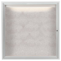 Aarco ODCC3636RI 36 inch x 36 inch Enclosed Hinged Locking 1 Door Satin Anodized Aluminum Finish Outdoor Lighted Bulletin Board Cabinet