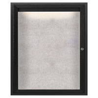 Aarco ODCC3630RIBK 36 inch x 30 inch Enclosed Hinged Locking 1 Door Powder Coated Black Outdoor Lighted Bulletin Board Cabinet