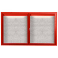 Aarco ODCC3660RIR 36 inch x 60 inch Enclosed Hinged Locking 2 Door Powder Coated Red Outdoor Lighted Bulletin Board Cabinet