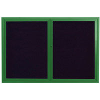 Aarco ADC3648G 36 inch x 48 inch Enclosed Hinged Locking 2 Door Powder Coated Green Aluminum Indoor Message Center with Black Letter Board