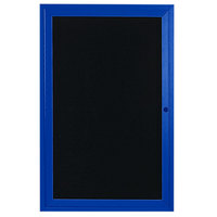 Aarco ADC2412B 24 inch x 12 inch Enclosed Hinged Locking 1 Door Powder Coated Blue Aluminum Indoor Message Center with Black Letter Board