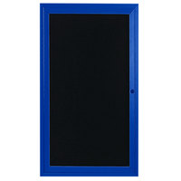 Aarco ADC3612B 36 inch x 12 inch Enclosed Hinged Locking 1 Door Powder Coated Blue Aluminum Indoor Message Center with Black Letter Board