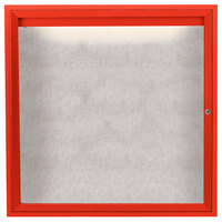 Aarco ODCC3636RIR 36 inch x 36 inch Enclosed Hinged Locking 1 Door Powder Coated Red Outdoor Lighted Bulletin Board Cabinet