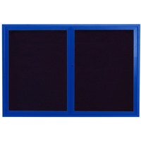 Aarco ADC3648B 36 inch x 48 inch Enclosed Hinged Locking 2 Door Powder Coated Blue Aluminum Indoor Message Center with Black Letter Board