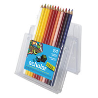 Prismacolor 92805 Scholar 24-Color Assorted Woodcase Barrel 3mm 2B Lead #2 Colored Pencil Set - 24/Set