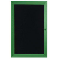 Aarco ADC2418IV 24 inch x 18 inch Enclosed Hinged Locking 1 Door Powder Coated Green Aluminum Indoor Message Center with Black Letter Board