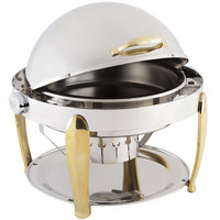 Bon Chef 10001 Manhattan 8 Qt. Round Stainless Steel with Brass Accents Roll Top Chafer with Vented Lid