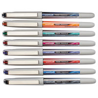 Uni-Ball 1734916 Vision Assorted Ink with Silver Barrel 0.7mm Needle Roller Ball Liquid Stick Pen - 8/Set