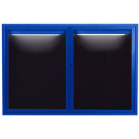 Aarco ADC3648IB 36 inch x 48 inch Enclosed Hinged Locking 2 Door Powder Coated Blue Aluminum Indoor Lighted Message Center with Black Letter Board
