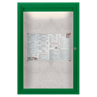 Aarco ODCC3624RIG 36 inch x 24 inch Enclosed Hinged Locking 1 Door Powder Coated Green Outdoor Lighted Bulletin Board Cabinet