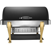 Bon Chef 19040-NERO Elite Rectangle 8 Qt. Dripless Nero Finish with Brass Accents Roll Top Chafer with Roman Legs