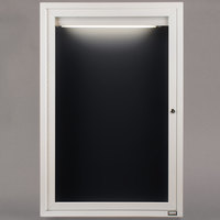 Aarco ADC2418IW 24 inch x 18 inch Enclosed Hinged Locking 1 Door Powder Coated White Aluminum Indoor Lighted Message Center with Black Letter Board