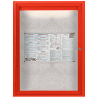 Aarco ODCC2418RIR 24 inch x 18 inch Enclosed Hinged Locking 1 Door Powder Coated Red Outdoor Lighted Bulletin Board Cabinet